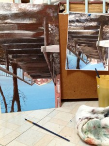 Painting with image and surface upside down.